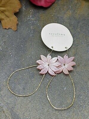 $ CDN32.59 • Buy NWT ANTHROPOLOGIE Pink M.O.P. Flower Large Statement Earrings By SEREFINA