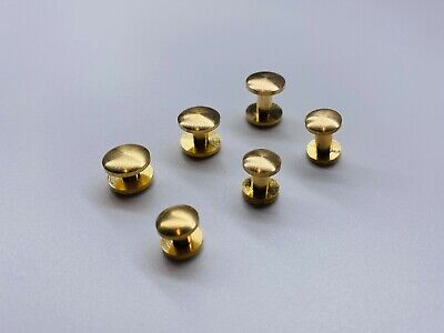 £5.99 • Buy Solid Brass Screw Rivets Curved Head Leather Craft Hardware -select Size-