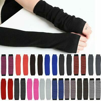 AU3.29 • Buy Striped Knitted Fingerless Thumb Gloves Arm Warmers Ladies Women Mittens AU Kit