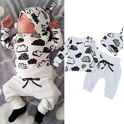 AU15.64 • Buy Infant Newborn Baby Girl Boy T-shirt Tops+Pants Trousers+Hat 3PC. Outfit Clothes