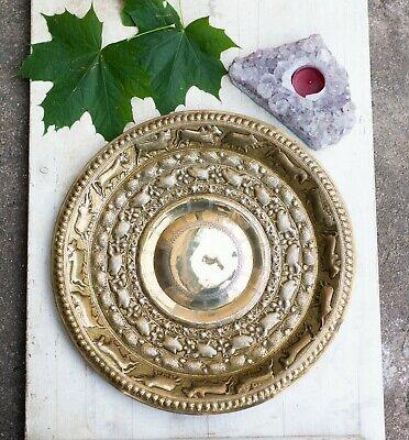 Antique Indian Brass Repousse Plate Tray Engraved Wall Hanging • 53£