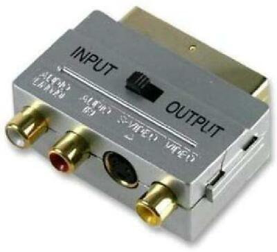 Cable Mountain Gold Plated Directional Scart To 3 X Phono  S-Video SVHS Adaptor • 10.29£