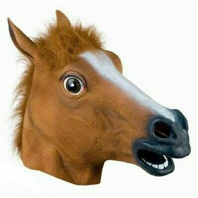 £14.46 • Buy Rubber Horse Head Mask Panto Fancy Party Cosplay Halloween Adult Costume