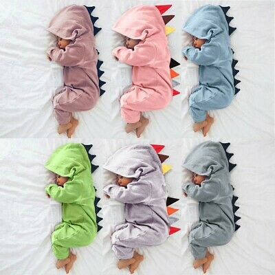 AU17.95 • Buy Newborn Infant Baby Boy Girl Dinosaur Hooded Romper Jumpsuit Playsuit Clothes 20