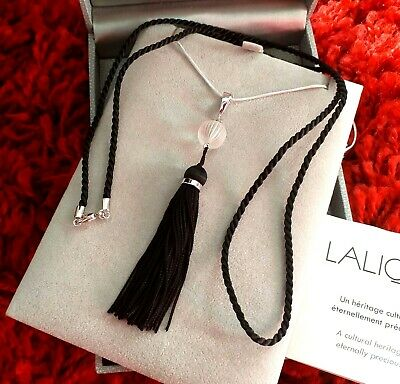Lalique Vintage Pendant Silver Chain And Long Silk Cord New ~rare • 650£