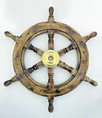 £28.95 • Buy Antique Wooden Ship Wheel 19  Inch Vintage Maritime Ships Pirate Wall Decor Home