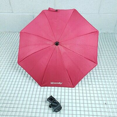 GENUINE ICandy Peach 3 2 1 Parasol / Umbrella  / In Red Plum With Clamp Clip • 12.99£