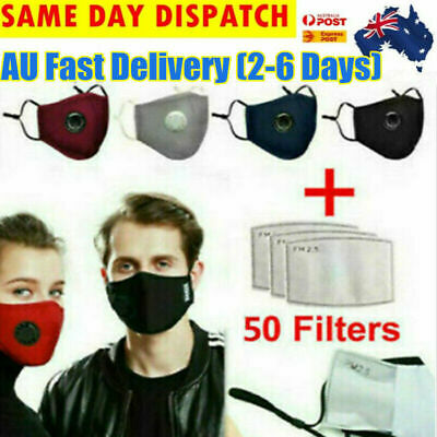 AU20.80 • Buy 2Pcs MASK With 52pcs Filters Washable Reusable Face Mask Respirator For Adult