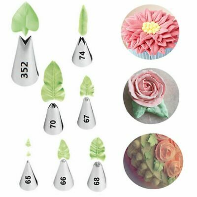 7pcs Leaf Shape Russian Icing Piping Nozzles Tip Pastry Cake Decorating Tip UK • 5.45£