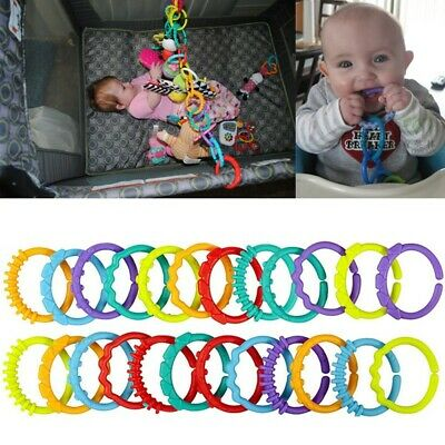 £5.99 • Buy 24Pcs Rainbow Teether Ring Links Plastic Baby Kids Infant Stroller Play Toys