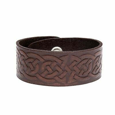 £6.95 • Buy Viking Norse Celtic Knot Wide Real Leather Wrap Bracelet Brown/Black Wristband
