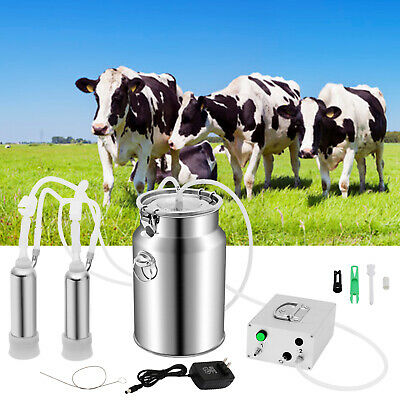 $105.89 • Buy 7L Electric Milking Machine Vacuum Pump Double Hole Automatically Milker