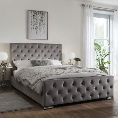 New Luxury Modern Fabric Chesterfield Bed Frame Base With Headboard & Footboard • 299.98£