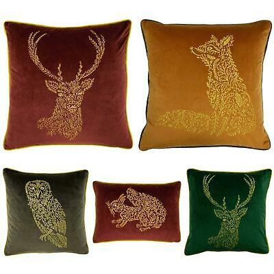 £13.49 • Buy Forest Fauna Cushion Covers Embroidered Animal Velvet Cushions Cover By Furn.