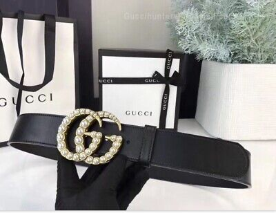 AU255.98 • Buy Brand New!  Gucci Leather Belt With Pearl Double G Buckle Black 38mm