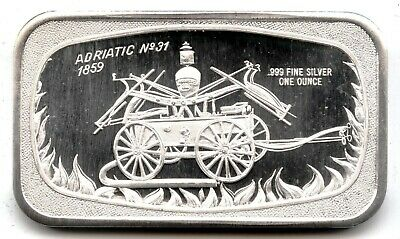 1859 Firetruck 999 Silver Medal 1 Oz Art Adriatic No 31 Bar Ingot Vintage MB517 • 35.76£