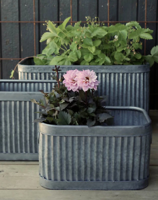 Set Of 3 Dolly Tub Planters Herbs Plants Flowers Antique Style Galvanised Pots  • 99.99£