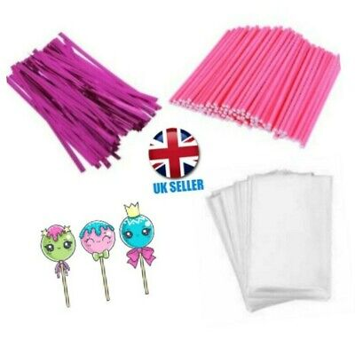 £3.85 • Buy 50 X PINK CAKE POP KIT 3.5  PAPER LOLLY STICKS 3 X 5  CELLO BAGS & METALLIC TIES