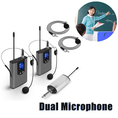 Mini 32 UHF Wireless System +Dual Headset/Lavalier Microphone One Receiver Hot • 47.24£