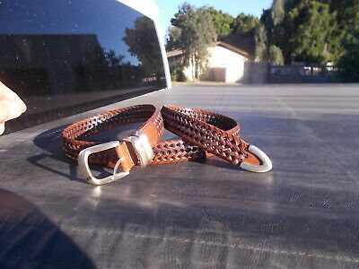 $18.50 • Buy Used FOSSIL  Laced Leather With Sewn On  Belt Buckle  Mens Marked Sz 38
