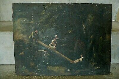 Circa 18 Th Cent. Georgian Antique Oil On Board, 'the Sea Saw' Reseaech Needed • 30£
