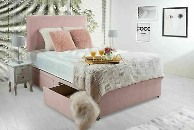 £299.99 • Buy Regal Pink Diamante Ortho Spring Divan Bed Set With Mattress Headboard