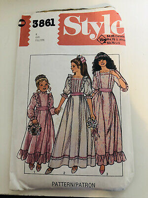 Style Vintage Dress Pattern 3861 Child And Girls Bridesmaid Or Party Dress 1982 • 4.99£