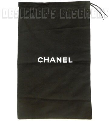 CHANEL Large Black Dust Bag String Tie 11 X 18  For Boots Or Handbag NEW Authent • 28.60£