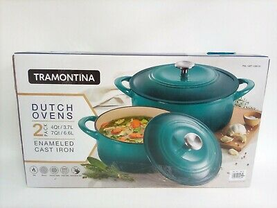 $ CDN121.78 • Buy Tramontina Enameled Cast Iron Dutch Oven 4 Qt & 7 Qt Set, 2 Pack, Teal Blue, NEW