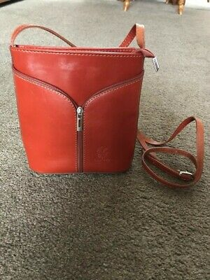Reddish Tan Leather Shoulder Bag By Vera Pello 8 Inch X 8 Inch. Long Thin Strap. • 12£