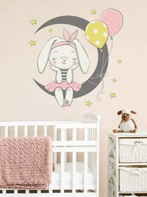 Large Colourful Rabbit Over Moon Wall Sticker For Children. Decal. REDUCED • 3.40£