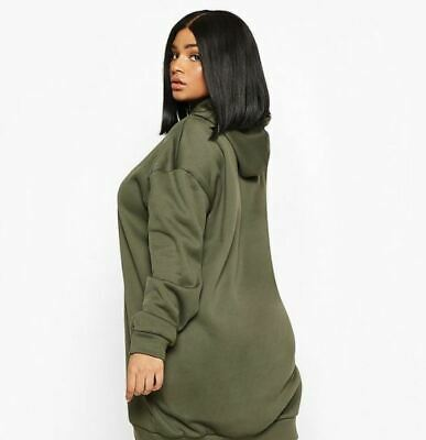 $ CDN21.02 • Buy Womens Ex Boohoo Khaki Oversized Sweatshirt Hoodie Dress Plus Sz 16 18 20 22 24
