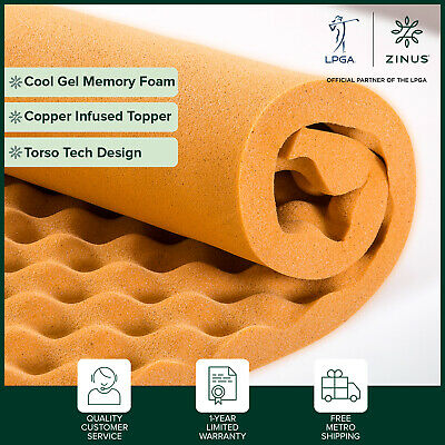 AU69 • Buy Zinus Euro Top Mattress With Zoned Pocket Spring - Copper Memory Foam Topper