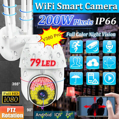 WIFI IP IR Camera Wireless 1080P 79 LED CCTV HD PTZ Smart Home Security Outdoor • 8.99£
