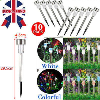 10pcs Colour Changing Stainless Steel Solar Led Garden Patio Post Outdoor Light • 7.99£