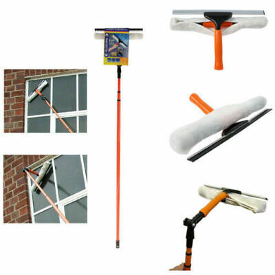 Uk 3.5m Telescopic Conservatory Window Glass Cleaning Cleaner Kit With Squeegee • 19.99£
