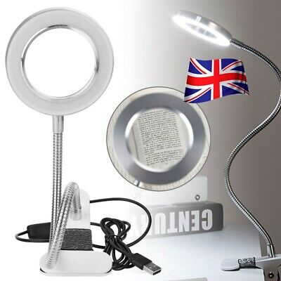£12.49 • Buy 8X Desk Table Top Magnifying Glass Beauty Nail Salon Tattoo Magnifier Lamp Kit