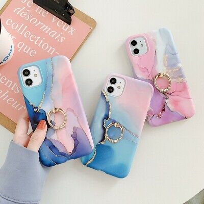 AU9.98 • Buy For IPhone 11 12 Pro 8 7 XS XR SE2 Colorful Marble Soft Case Cover Ring Holder