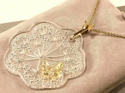 Lalique Ombelles & Butterfly Crystal & Gold Plated Chain Pendant Necklace /rare • 450£
