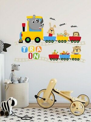 £2.69 • Buy  Colorful Childrens Animals On Train Print Wall Sticker / Decal