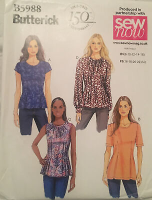 Butterick 5988 Semi Fitted Long Sleeve Flared Top Shirt Ladies New Uncut Pattern • 6.99£