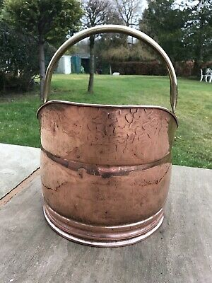 Vintage Copper Helmet Coal Scuttle -Fireside Log Bucket- Brass Handled Design  • 55£