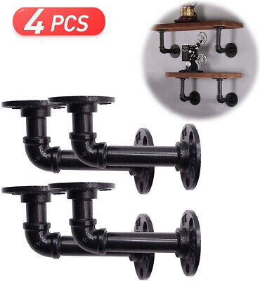 £13.49 • Buy 4Pcs Pipe Shelf Brackets Industrial Iron Rustic Wall Floating Shelves Supports