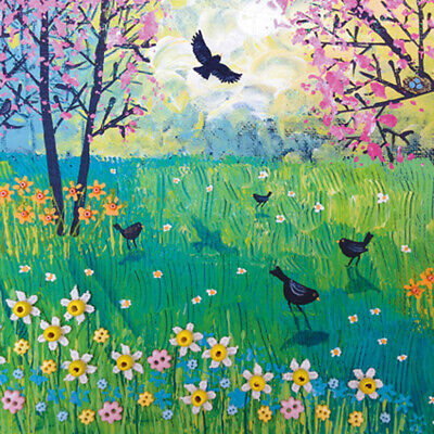 £3.29 • Buy Blackbirds And Blossom Square Blank Greeting Card By Artist Jo Grundy Art Cards