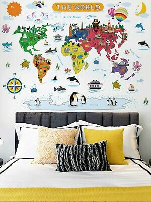 Childrens World Map Wall Sticker / Decal For Room Wall Furniture / Educational • 3.99£