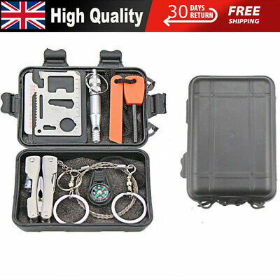 9 In 1 SOS Kit Outdoor Emergency Equipment Box For Camping Survival Gear Fast • 9.57£