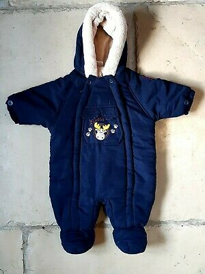 Ladybird Blue Zip Up Pram Suit With Faux Fur Trimmed Hood Age 0 - 3  Months • 4.99£