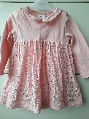 Baby Girls Pink Long Sleeved Lace Collar Dress With Vest 6-9 Months H&M  • 2£