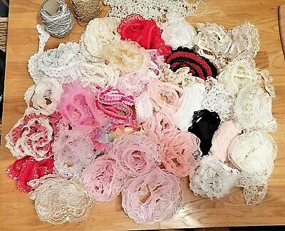 Job Lot Gathered Lace Ribbon Trims Bows Pearls White Pink Gold Silver • 4.20£