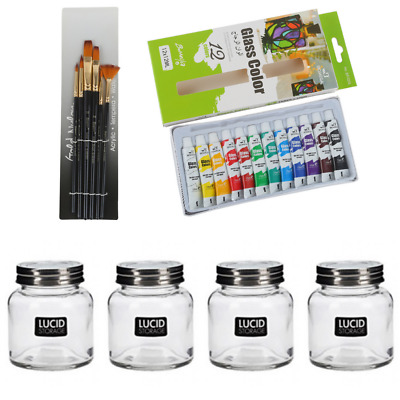$66.24 • Buy 22pce Glass Painting Kit DIY Paints, Brushes & Milk Urn Glasses To Decorate Craf